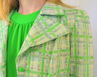 Vintage 1970's Neon Green Palazzo Jumpsuit with Plaid Jacket, Modern Size 6, Small