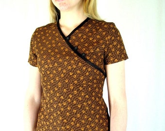 Upcycled Brown Floral Asian Top, Size 8, Small