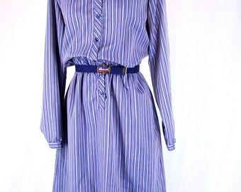 1980s Secretarys Dress, Ruffled Vintage Shirtwaist, Blue Boho Striped Dress, Modern Size 6 to 8, Small