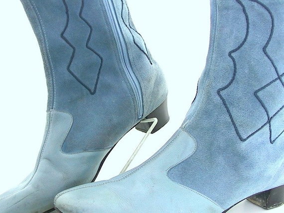 Boots - Blue Suede Sbicca Boots Vintage 1980's Modern Size 9N