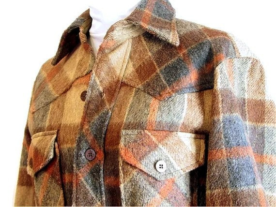 Mens Vintage Coat Brown and Tan Plaid CPO Jacket Size Small