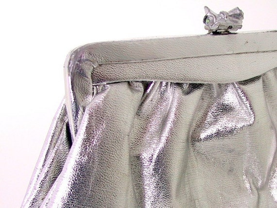 Vintage Silver Metallic Clutch Purse Evening Bag