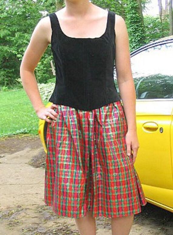 Red Plaid Taffeta Skirt and Black Velvet Vest, Modern Size 6, Small