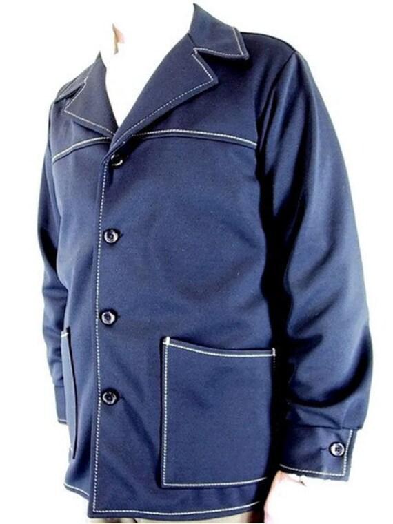 Outerwear Mens Navy  Blue Vintage Shirt Jacket