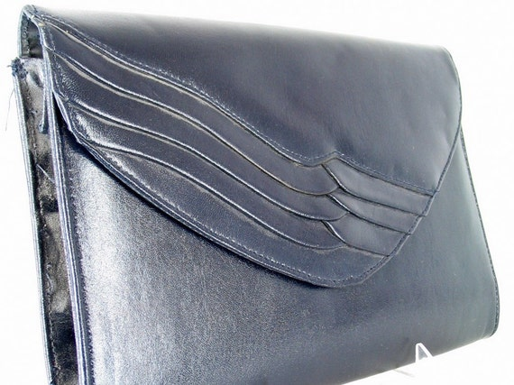 Vintage Envelope Clutch Purse, Blue 1980s Shoulder Bag