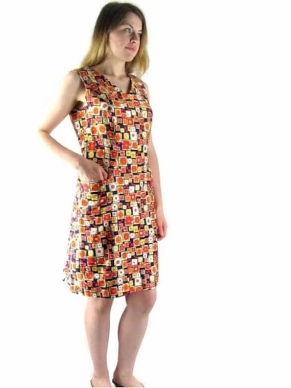 Vintage 1970's Navy Blue and Orange Summer Sheath Dress, Modern Size 8 to 10, Small to Medium