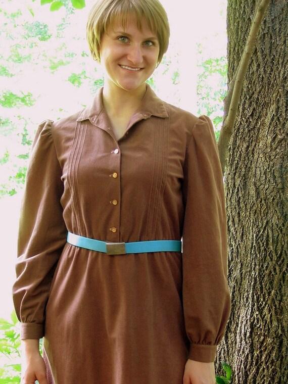 Vintage 1970's Brown Velour Dress, Modern Size 8 Small