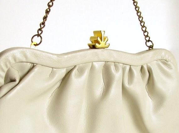 Vintage 1980's Beige Handbag Purse