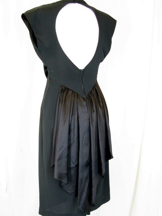 Vintage Party Dress - 1980's Black, Disco Peplum Dress, Modern Size 4, Extra Small
