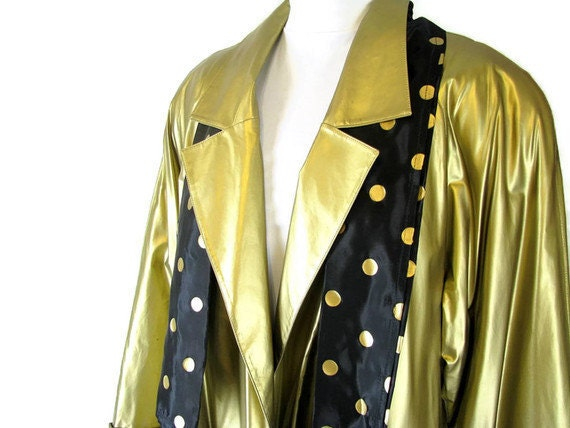 Vintage 1980's Gold Disco Raincoat, Swing Coat, Modern Size 10 to 16, Medium to Large