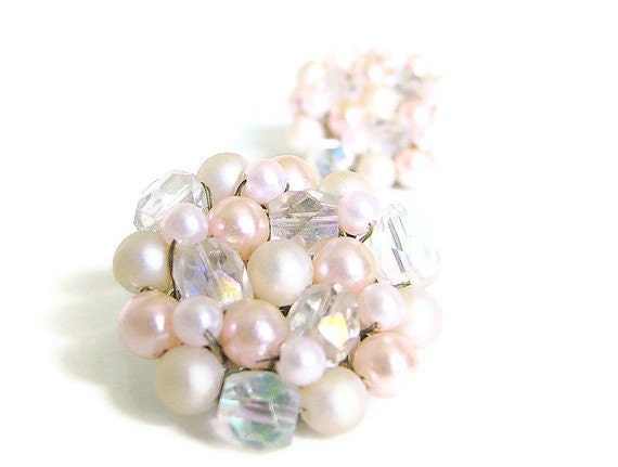 Pink Pearl Japan Cluster Earrings Vintage 1950s Clip On Jewelry