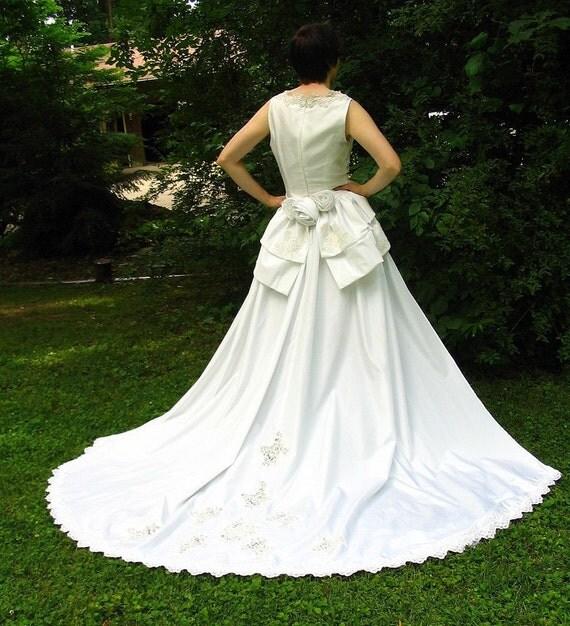 Wedding Gown With Detachable Train: Eco Wedding Dress With Detachable Train Upcycled Refashioned