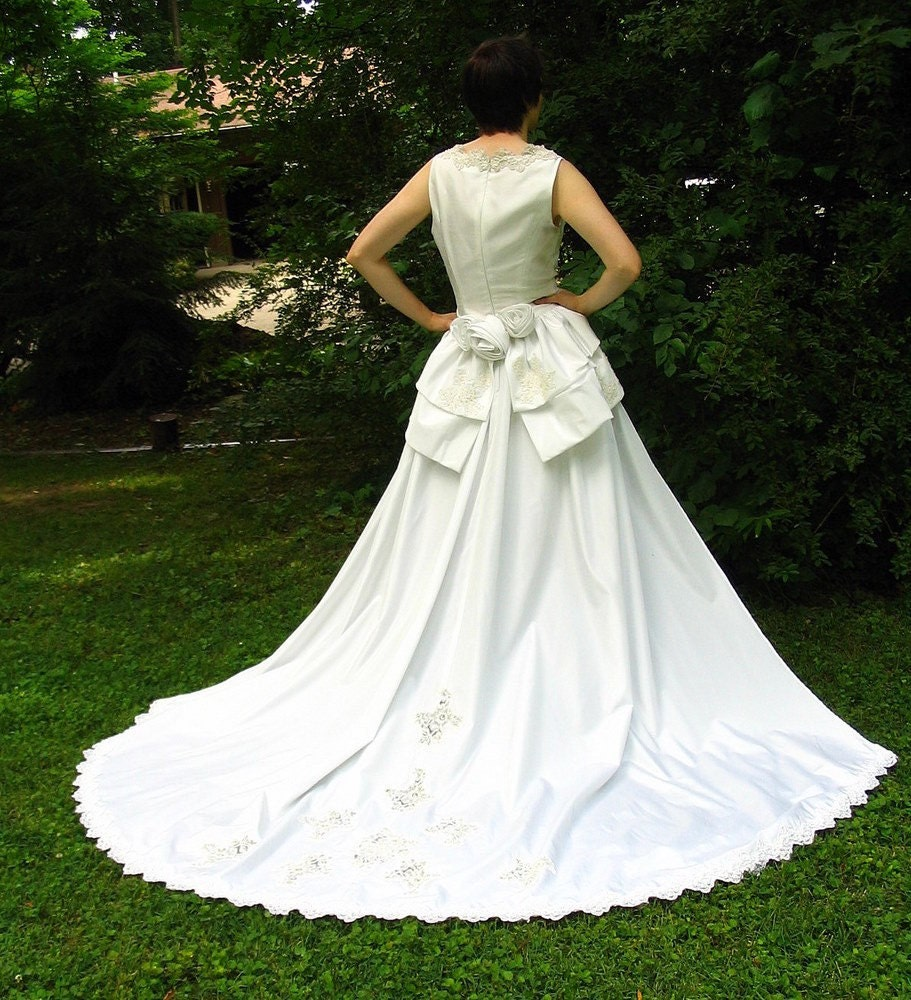 Eco wedding dress with detachable train upcycled refashioned for Detachable train wedding dress