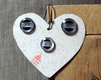 Vintage Valentines Day Heart Tin Ornament