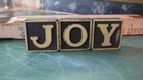 Vintage Wood Game Pieces, Black and Cream, Retro Home Decor, Gifts under 10, Joy sign