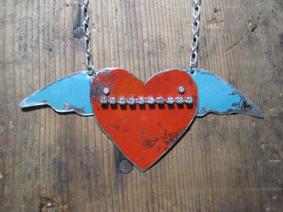 Vintage Reclaimed Upcycled Red and Blue Heart & Wing Tin Necklace on Sterling Silver Chain, Gifts under 35, Gifts for Her, Ready to Ship