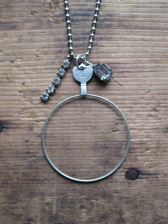 Charms on Chain Vintage Monocle Optical Lense no. 1 on Base Metal Ball Chain Reclaimed Upcycled Gifts under 20 Gifts for Her Gift for Him