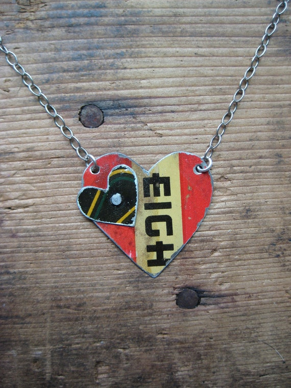 Vintage Reclaimed Upcycled Tin Heart Necklace on Sterling Silver Chain, Gifts under 25, Gifts for Her, Ready to Ship