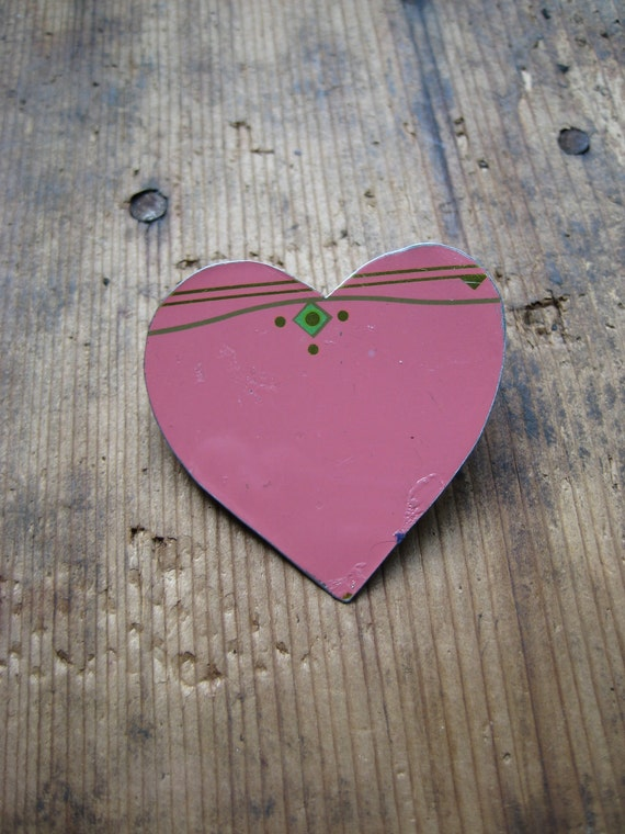 Vintage Heart Pink Almond Roca Tin Brooch, Recycled, Rhinestones, Gifts under 10, gifts for Her, Valentines Day