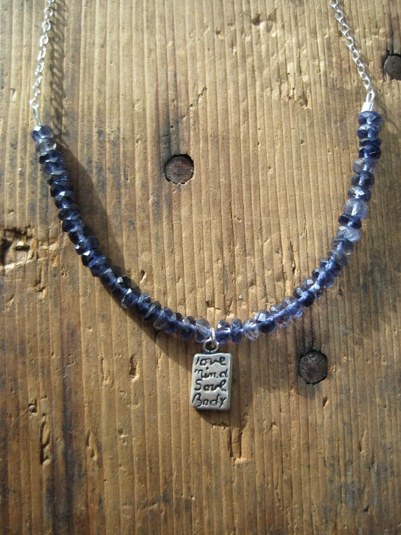 SALE Jewelry - Iolite and Love Mind Body Soul Charm Flexwire Necklace, Gifts under 20, Gifts for Her, Ready to Ship