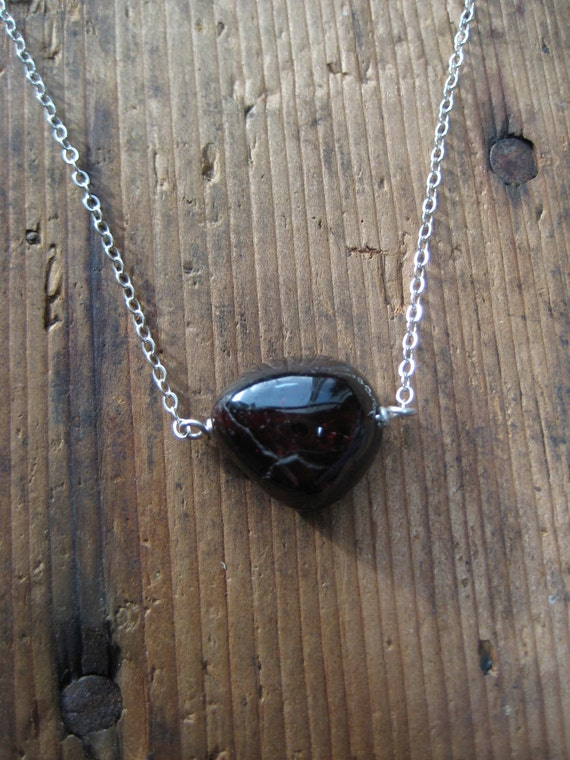 CLEARANCE - Garnet and Sterling Silver Necklace, Gifts for her, Valentines Gifts, Affordable Jewelry, Gifts under 10, Ready to Ship