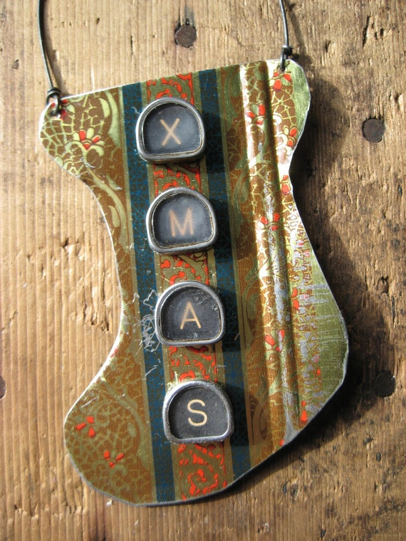 Vintage Reclaimed Christmas Stocking Tin Ornament, Upcycled Christmas ornament, Gifts under 15, gifts for her, Recycled Metal, Decoration