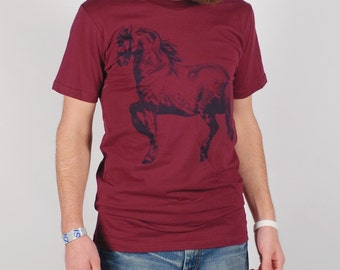 Cheval - Large Men's screenprinted horse T-shirt, black on maroon