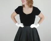 50s Black Velvet & Flocked Taffeta Circle Skirt Party Dress M