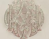 Deco - Style Vintage Rhinestone & Silver Metal Monogram Brooch by Carolee