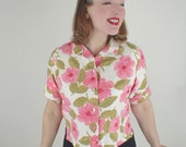 50s Brushed Cotton Pink Flower Roll Cuff Short Sleeve Blouse M