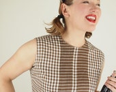 60s Brown & White Gingham Check Sleeveless Blouse by Ship'n Shore M
