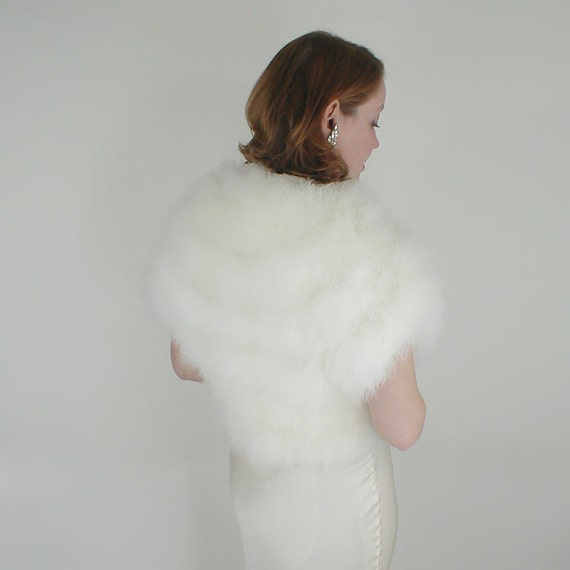 70s White Fluffy Marabou Feather Vest or Jacket - 30s Style Glamour