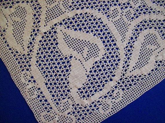 Vintage Fillet Lace Crochet Applique