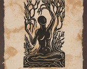 Original Woodcut Norse Godess Legend Mimir Surreal Earth Sky Mother