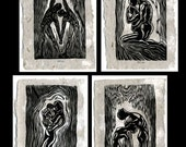 Collector's Matched SET 4 Original Woodcut Prints Classic Partner Yoga Poses