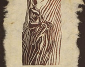 Original Woodcut Classic Female Pose Princess Seated in Throne Handmade Paper LE