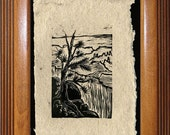 FRAMED ART SET 3 Original Woodcuts Shipped Free Grand Canyon Hiker's Views Rim Trail Landscapes