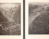 Set 2 Wood Engravings Southwest Views Mojave Desert and Colorado River