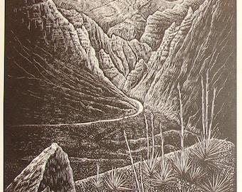 Woodcut Print Original Woodblock Follow the Light Wood Engraving Southwest Desert Nevada Landscape