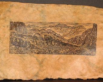 Red Rock Canyon Southwest Landscape Original Woodcut on Lotka Paper