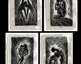 Collector's Matched SET 4 Original Woodcut Prints Classic Partner Yoga Poses