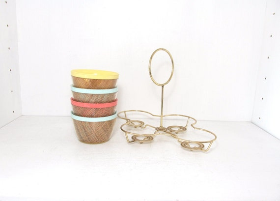 Vintage Colorful Bowls And Holder