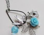 Silver Necklace, Large Tear Drop Pendant, Blue Rose, Silver Swallow Bird, Bridhouse, Long Chain OOAK Statement