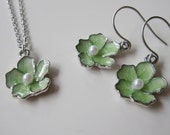 Green Lotus Flower, Earring Necklace Set, Silver Edged Flower, Bridesmaid Earrings, Mother's Day Gift