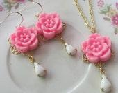 Pink Flower Earring Necklace Set - Bridal Jewelry - White Teardrop Crystal Dangle - Romantic Wedding - Jewelry Gift Set