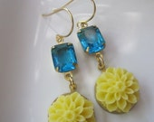 Ocean Blue Vintage Glass Earrings Yellow Carbochon Flowers Summer - Bridesmaids Jewelry