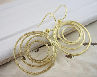 Gold Hoop Earrings, Gold Circles, Modern, Eclipse Earrings, Brushed Gold, Matte Gold, Modern, Geometric, Minimalist, Gardendiva
