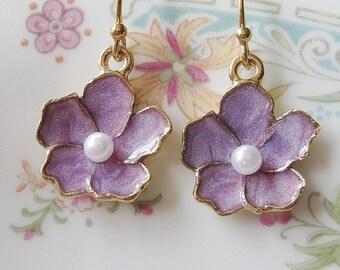 Lavender Flower Earrings, Purple Earrings, Lotus Orchid Flower, Jewelry Set, Bridesmaid Earrings, Gardendiva