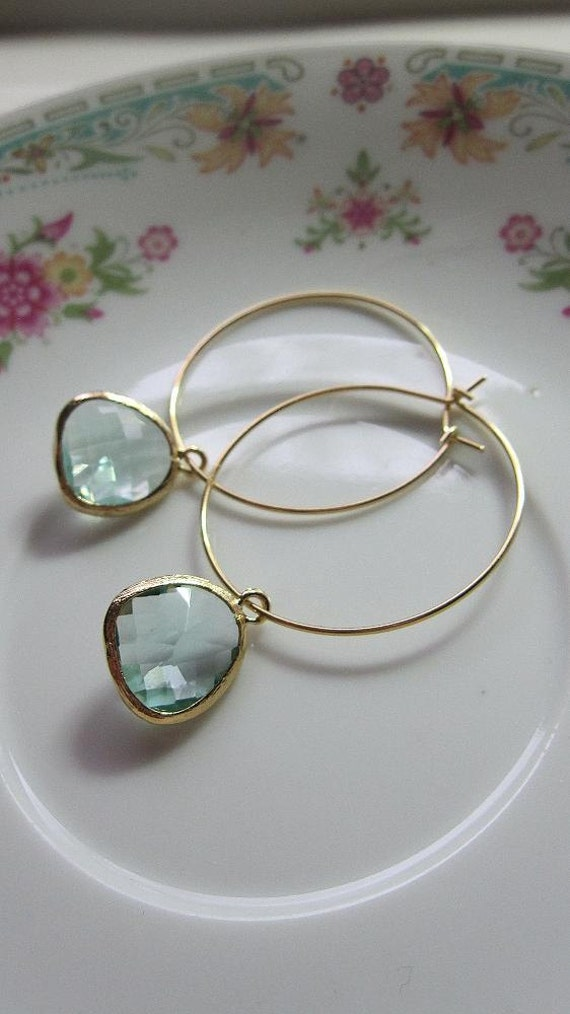 Reserved for Leslie: Return Customer Discount - Gold Hoop Earrings with Smoky Blue Glass Stones