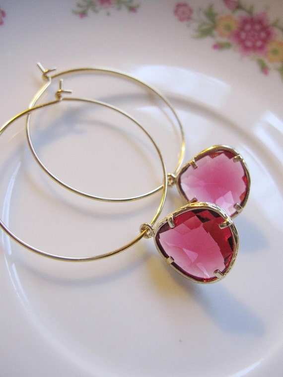 Honeysuckle Pink Glass Earrings On Gold Hoops - Bridesmaid- Wedding Earrings